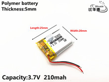 1 unids/lote 3,7 V 210mAH 502025 polímero de iones de litio/Li ion batería recargable para DVR,GPS,mp3,mp4
