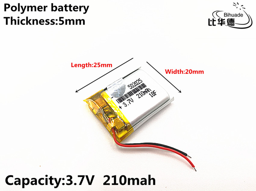 1pcs/lot 3.7V 210mAH <font><b>502025</b></font> Polymer lithium ion / Li-ion Rechargeable <font><b>battery</b></font> for DVR,GPS,mp3,mp4 image
