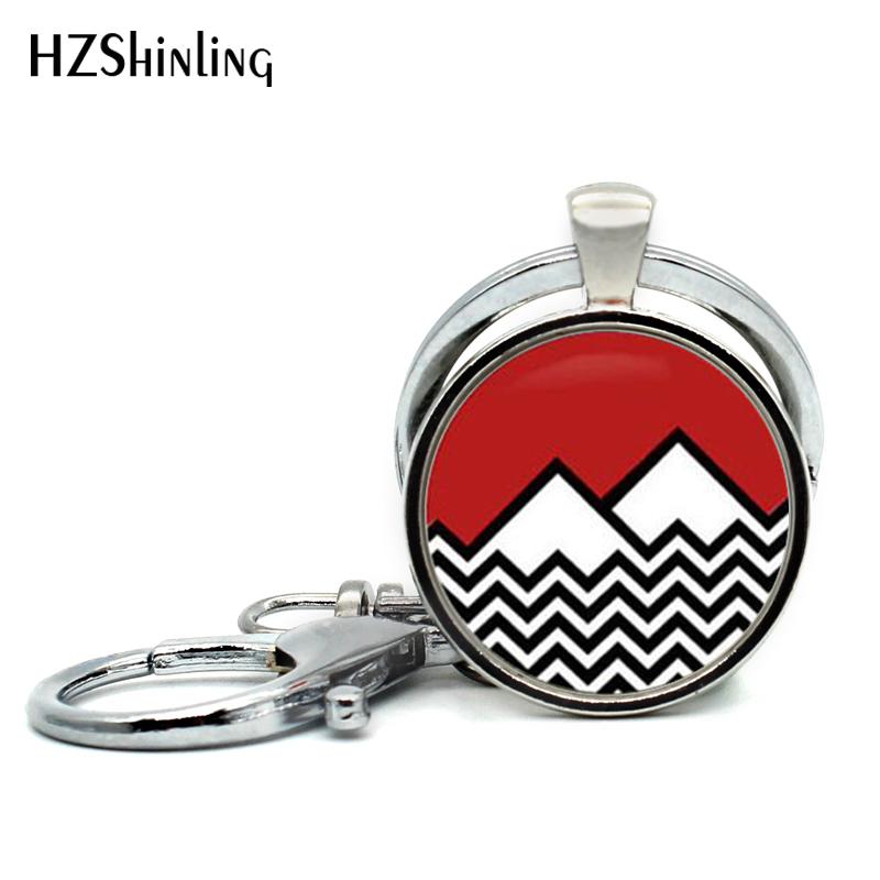 2017 New Fashion Twin Peaks Inspired Keychain Handmade Round Twin Peaks Bookhouse Boys Key Ring For Car Accessories Key Chains