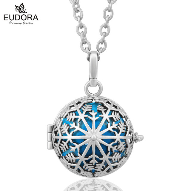Blackened Silver Snowflake Angel Caller Bell Ringing Baby Chimes Harmony Bola Balls Pregnancy Pendant With Silver Chain Jewelry