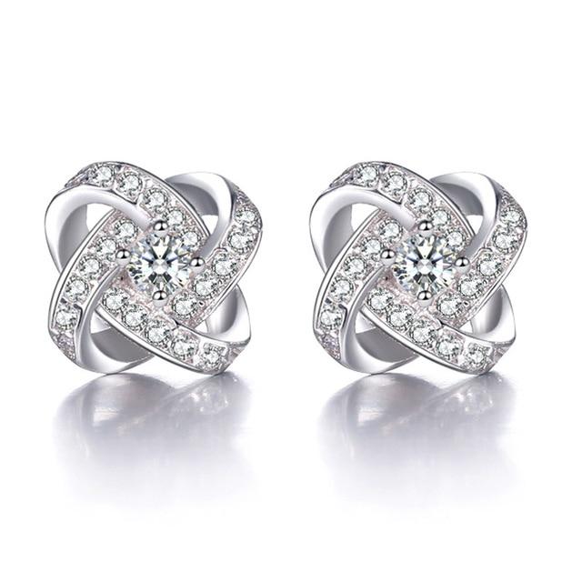 Js Brand Female Aaa Cubic Zircon Flower Channel Stud Earring For Women Crystal Rhinestone Earing Brinco