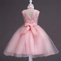 Bebé 2-15 Años Niñas Adolescentes Vestidos de Princesa Girl Bordado Vestido Rosa Niños Niñas Monzón Ropa Sin Espalda Vestido Formal Collar