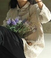 Top Blusas Original Women Spring Retro Long Sleeve Blouse Solid Cotton Linen Button Casual Shirt Vintage