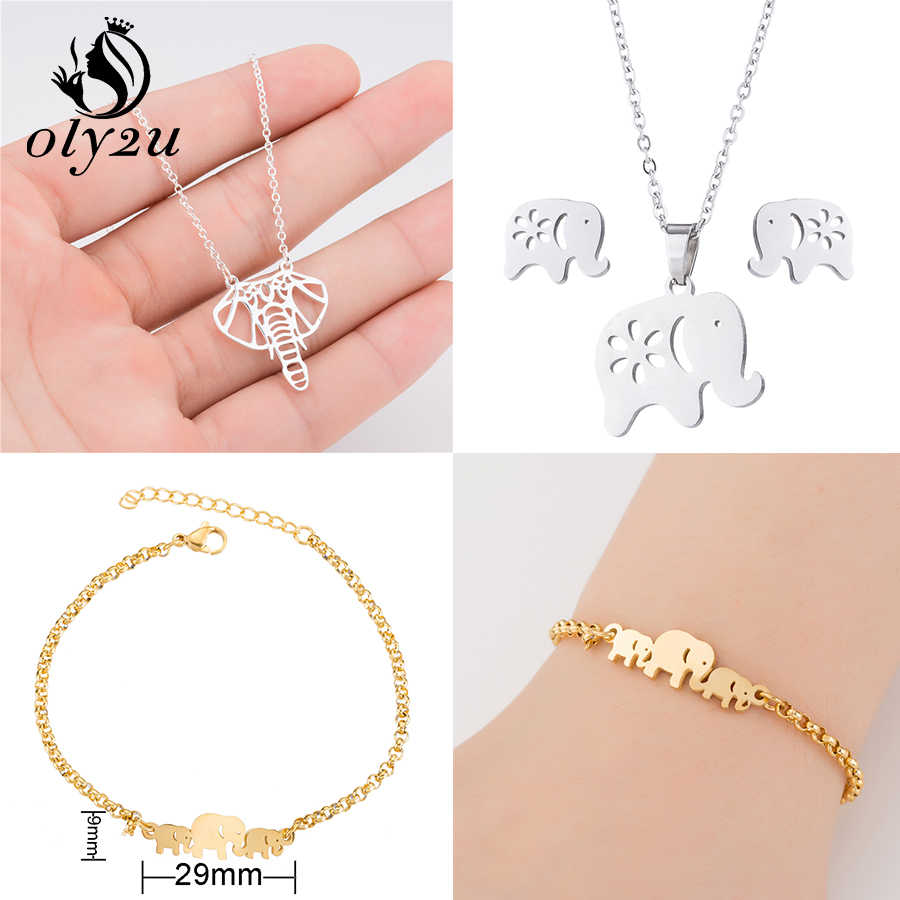 Oly2u Animal Elephant Necklaces for Women Stainless Steel Necklace Long Choker Necklaces & Pendants collier femme 2019