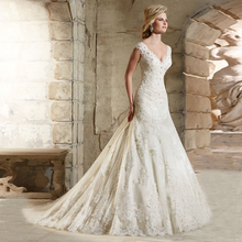 2016 Modern Sexy Mermaid Style V-Neck Full Appliques and Lace Bridal Gown Wedding Dresses Long Custom Size Bridal Vestidos Ivory