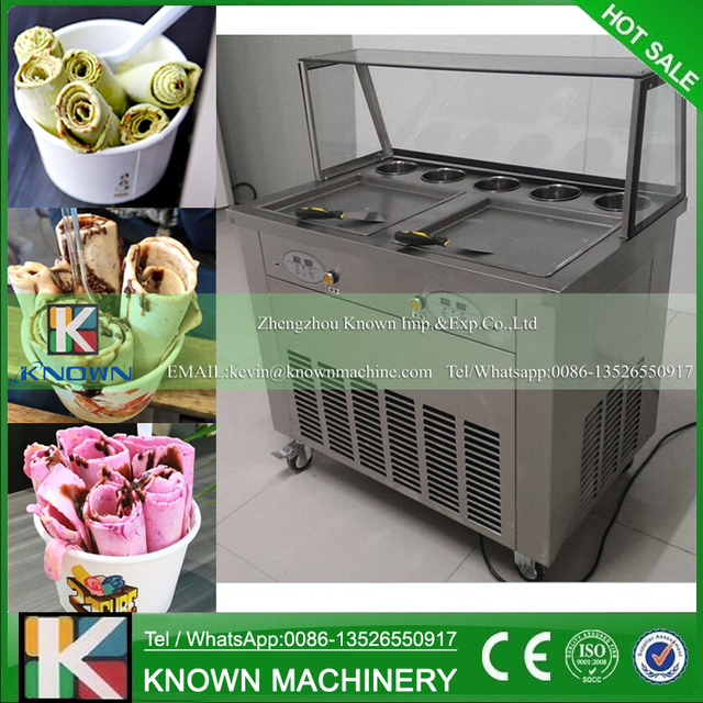 Double 35 cm square pans with 5 topping tanks of fried ice cream roll machine with R410A Refrigerant (free shipping by sea)