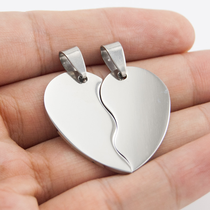 13d3dfd351 Split Heart Tags Charm Pendant Stainless Steel Blank Engrave Mirror Polish  DIY Jewelry Making for Couple Wholesale 10pcs-in Pendants from Jewelry ...