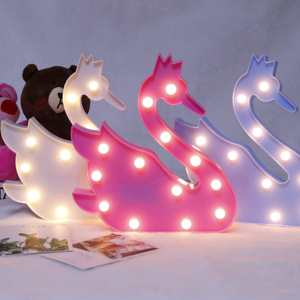 3D LED Night light Fashion Swan Light Lamp Romantic Home Decor Kids Gift D30