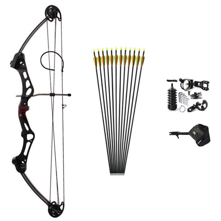Composite Bow Suit Stars Composite BLACK Bow With Arrow Outdoor Shooting Hunting Bow and Arrow 50