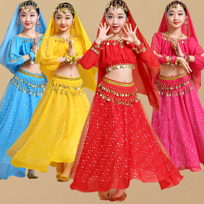 Girl Professional India Dancewear Children Belly Dance Costumes Fashion Bollywood Dance Competition Girl Egypt Dance Outfits