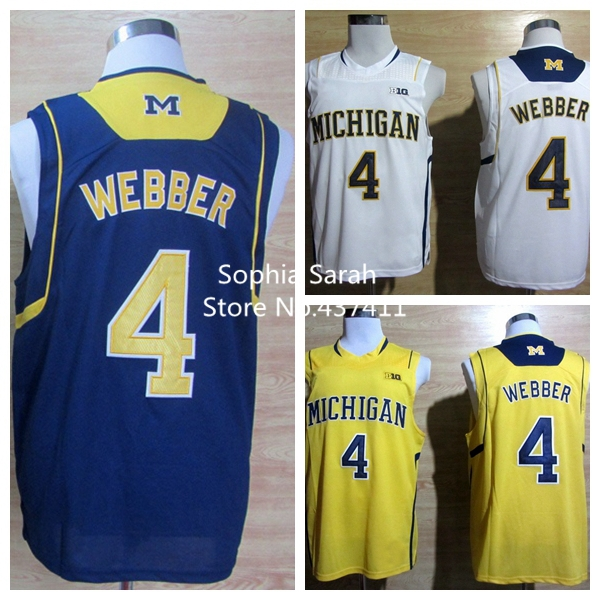 new arrival d90b1 5c72a michigan wolverines 4 chirs webber yellow big 10 patch jersey