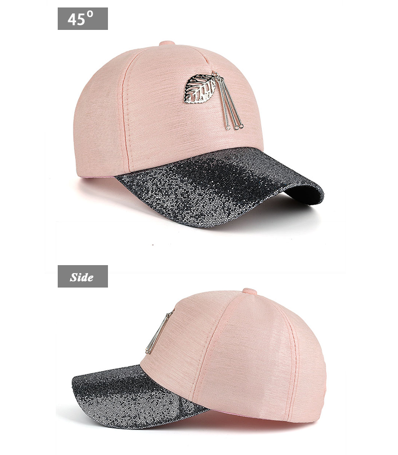 Dangling Leaf Snapback Cap - Pink Cap Front Angle and Side Views