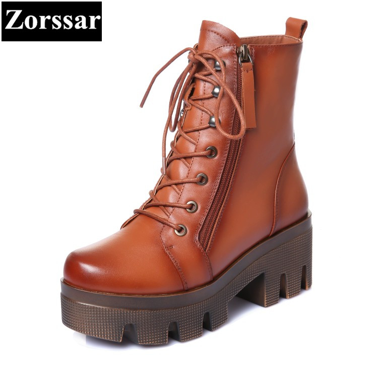 {Zorssar} 2017 winter Woman shoes Fashion Leather Ankle Motorcycle Boots Female Casual lace up High heels platform short shoes front lace up casual ankle boots autumn vintage brown new booties flat genuine leather suede shoes round toe fall female fashion