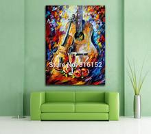 Palette Knife Printed On Canvas Painting Guitar Violin Red Wine Wall Picture For Living Room Bedroom Wall Decoration(China)