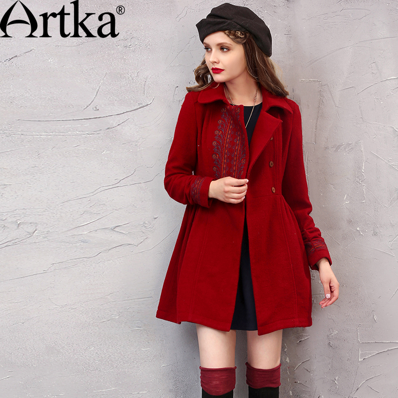 ARTKA Winter Women s Wool Coat Embroidery Outerwear Turn Down Collar Ladies Overcoat Vintage Jacket Female
