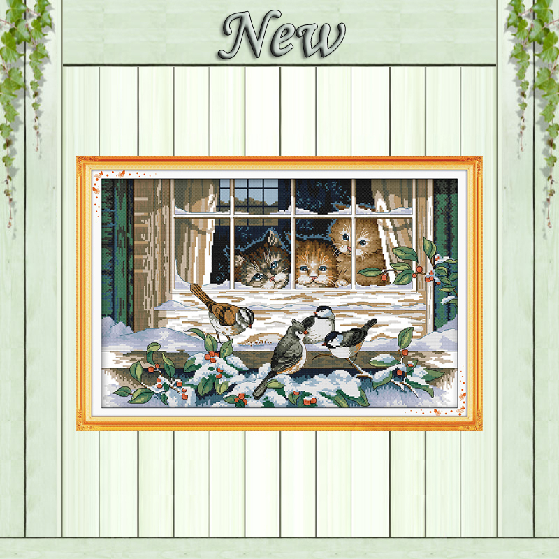 Landschap uit het raam, Geteld op canvas DMC 11CT 14CT Borduurpakket, Handwerkset Borduren, wintervogelsneeuw kat