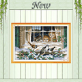 Landscape out of the window,Counted Print on canvas DMC 11CT 14CT Cross Stitch kit,Needlework Set Embroider,winter bird snow cat