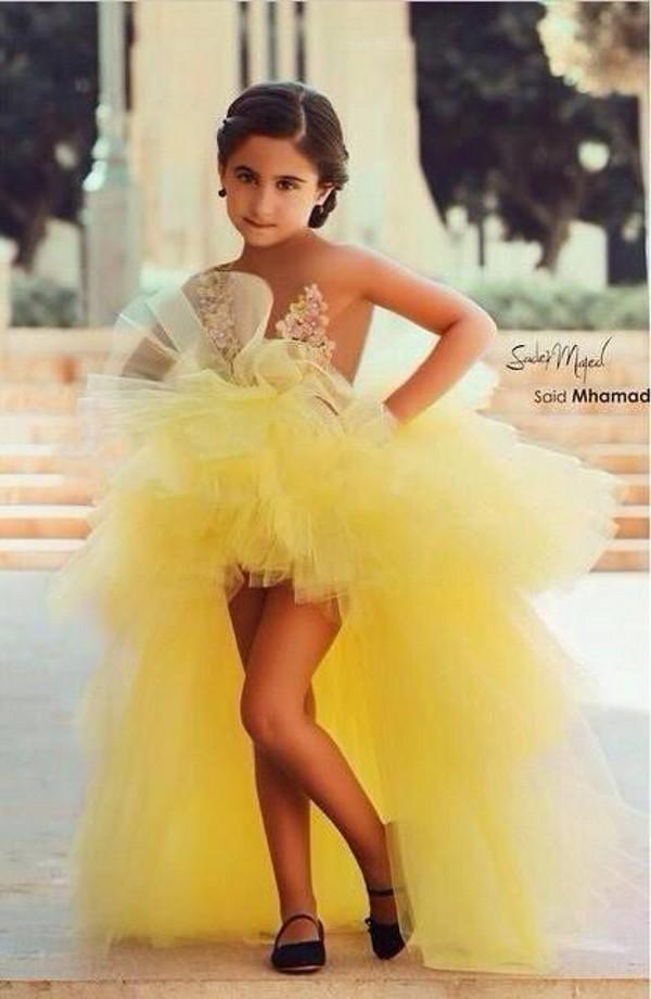 Beauty Yellow Pageant   Dress   For   Girls   Tiered Appliques High Low   Flower     Girl     Dress   Organza Kids Pageant Gowns GL