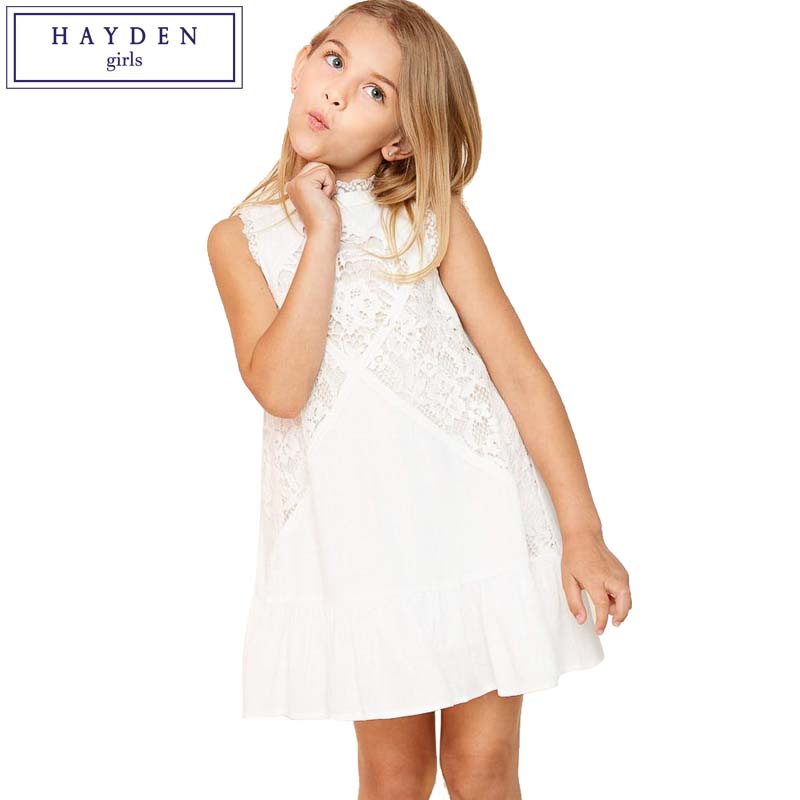 HAYDEN Girls White Lace Dress Elegant Sleeveless Ruffled A Line Dress Size 6 8 10 12 14 Years Teenager Girls Summer Dresses new girls bohemia children dresses summer beach dress floral v neck sleeveless dress jumpsuits maxi dress 4 6 8 10 12 14 years