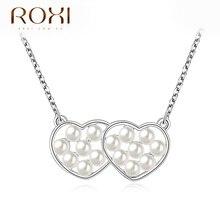 2017 roxi подвески двойное сердце бусы заявление ожерелье новая мода ювелирные изделия женщины дамы романтический цепи для свадьбы