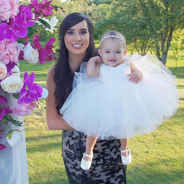 Robe de baptême pour bébé nouveau-né blanc tenue de baptême pour bénédiction tutu tulle gonflé bébé 1 an robes d'anniversaire avec strass