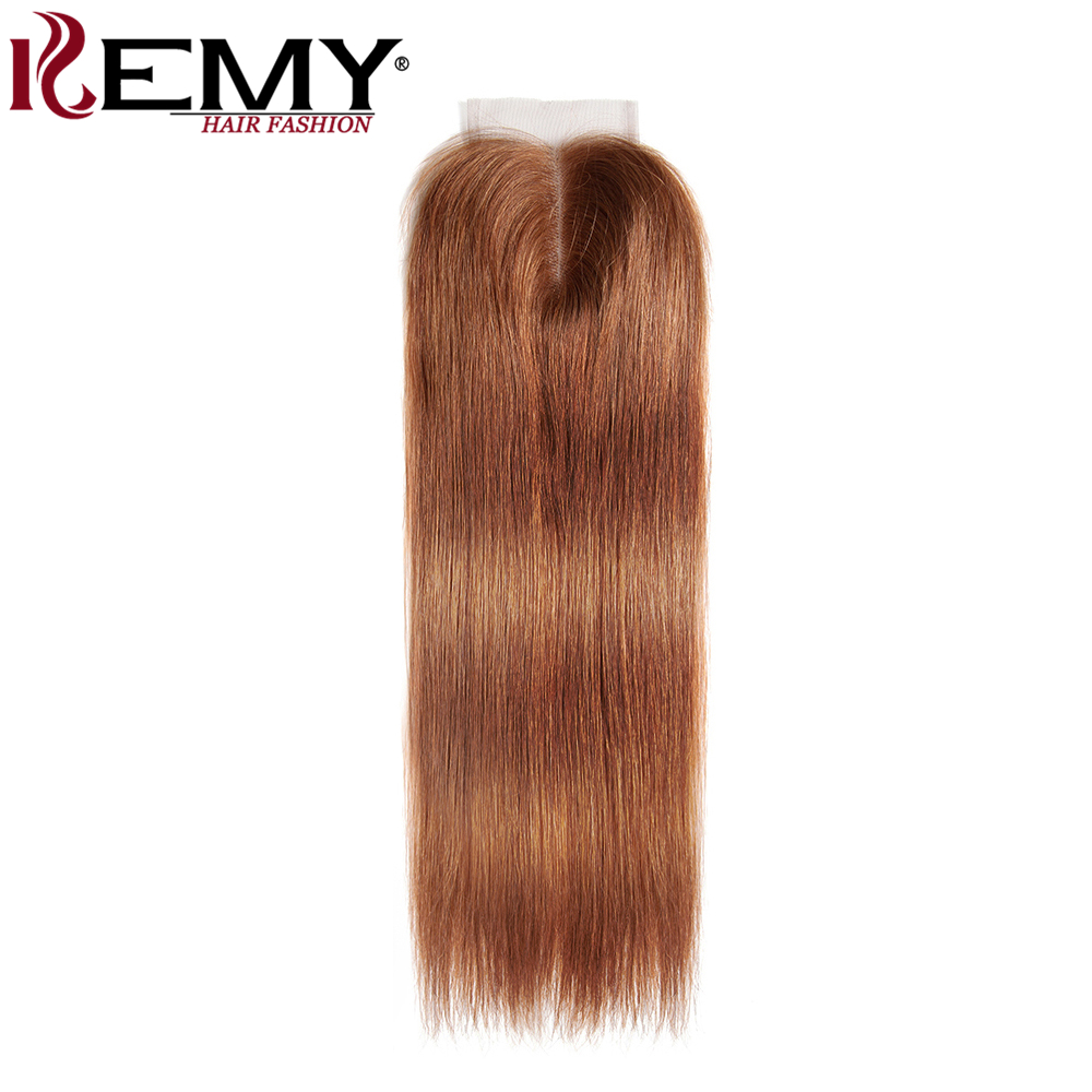 KEMY HAIR 100% Human Blonde Hair Swiss Lace Closure 8 to 20 4*4 Free/Middle Part Non-Remy Brazilian Straight Closure 30#