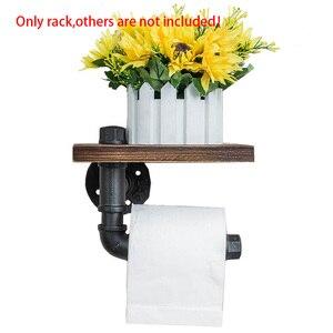 Image 4 - 호텔 나무 선반 욕실 교수형 랙 홈 롤 종이 홀더 주방 벽 마운트 산업 스타일 전화 스토리지 레트로 화장실