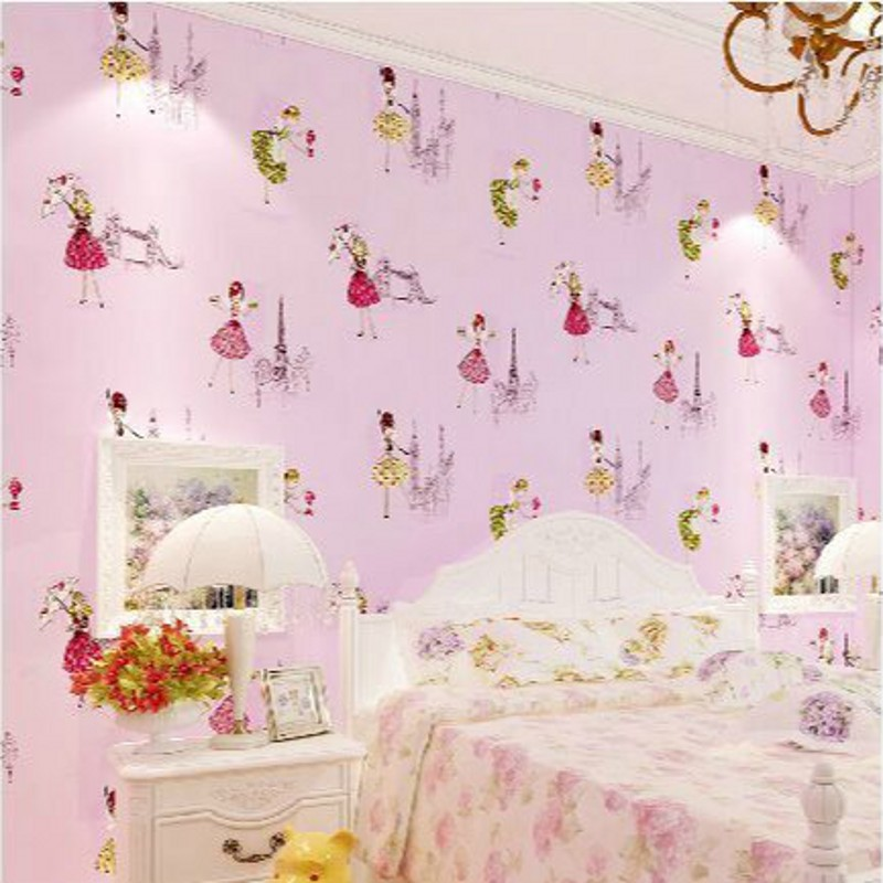 beibehang High atmospheric non-woven wallpaper pattern in blue pink ballet cartoon boys and girls children's room wallpaper warm beibehang environmental non woven boy girl warm cartoon children s room blue sky clouds balloon wallpaper