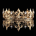 Adult Royal Crown King / Queen Full Crowns Iris flower Design Baroque Vintage Tiaras Gold Plated Hair Jewelry  HG00202