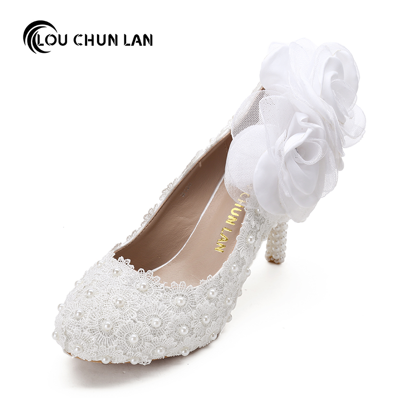 цены  Sweet White flower lace platform high-heeled Shoes pearl Wedding Shoes bride dress Women's Pumps 8cm