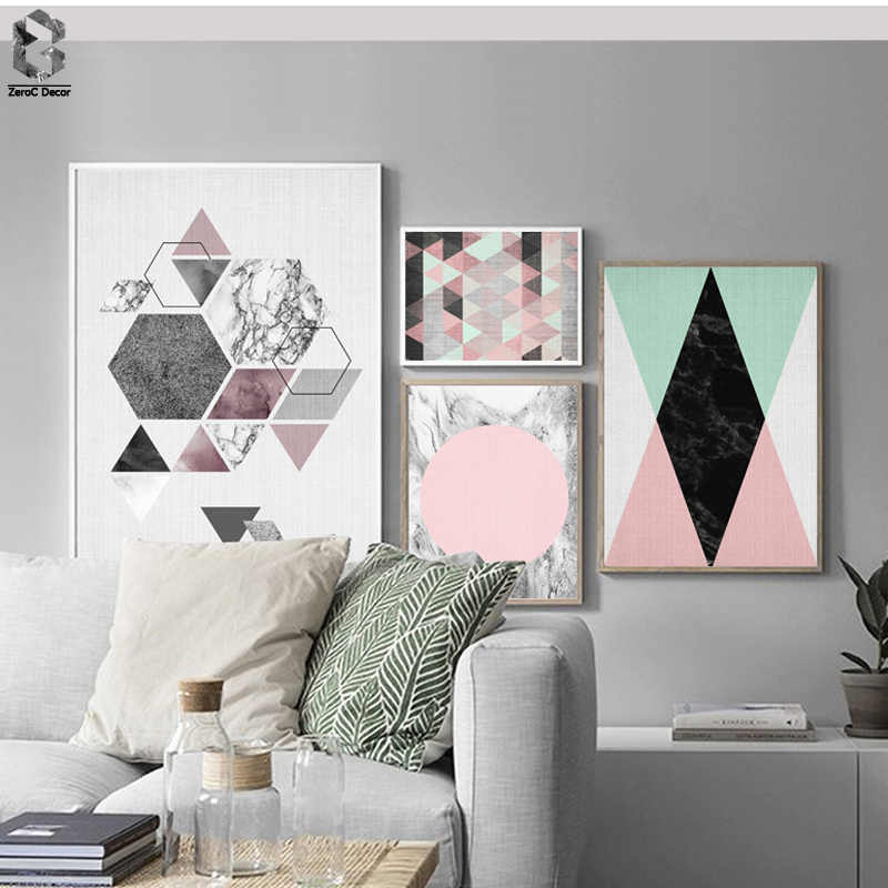 Nordic Canvas Posters And Prints Wall Art Geometric Paintings Wall Pictures for Home Decoration, Marble Wall Decor