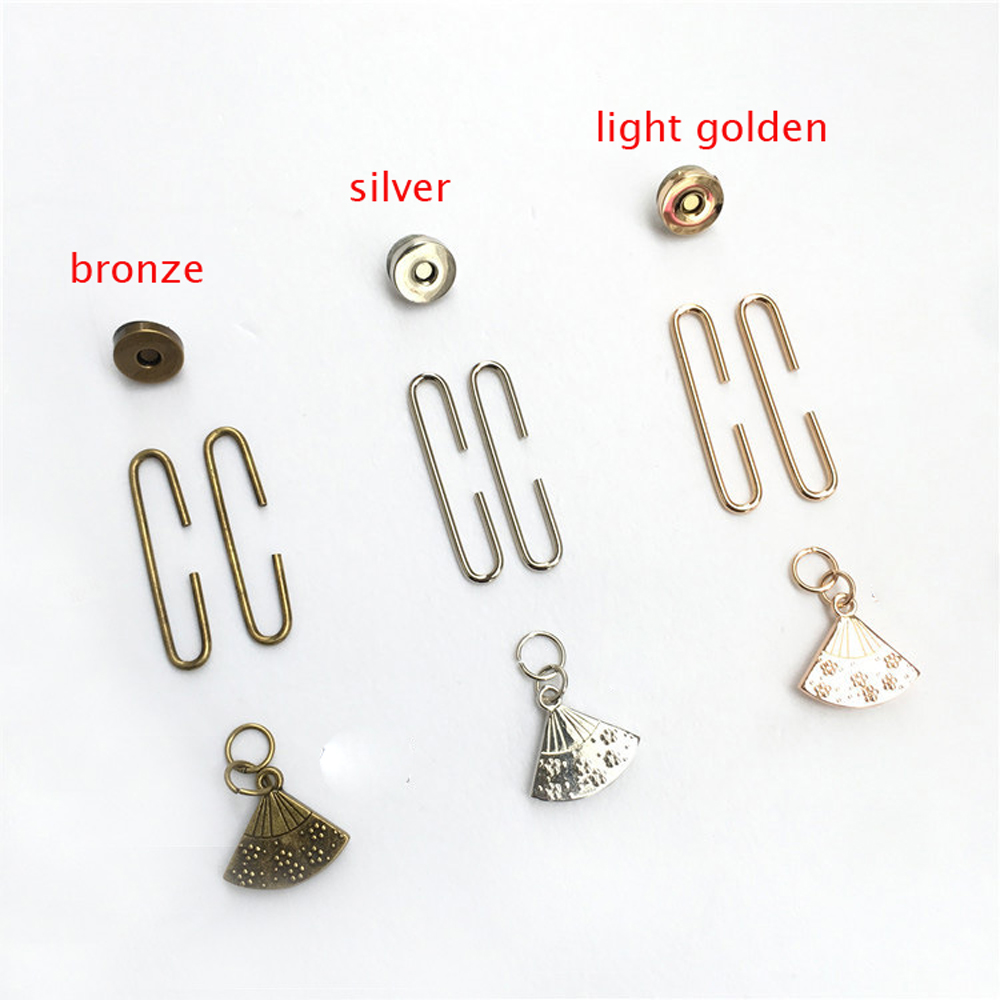 DIY Women Coin Bag Metal Clasp With Magnet Button Set Purse Frame 10sets/lot Fan Design