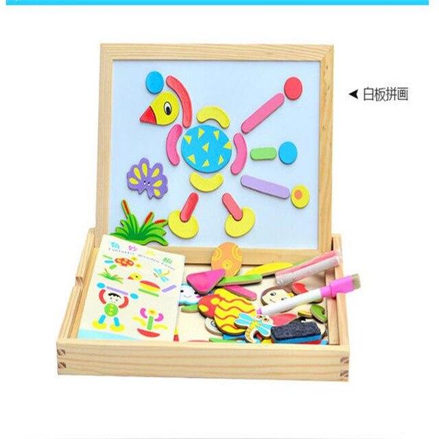 2016 стильный дизайн Многофункциональный Educationa Животных Деревянные Магнитные Головоломки Игрушки для Детей случайных цветов