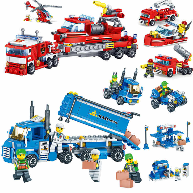 Kids Love Fire Fighting Car Helicopter and Boat Urban Freight City Truck Model Building Blocks Bricks Children Toys
