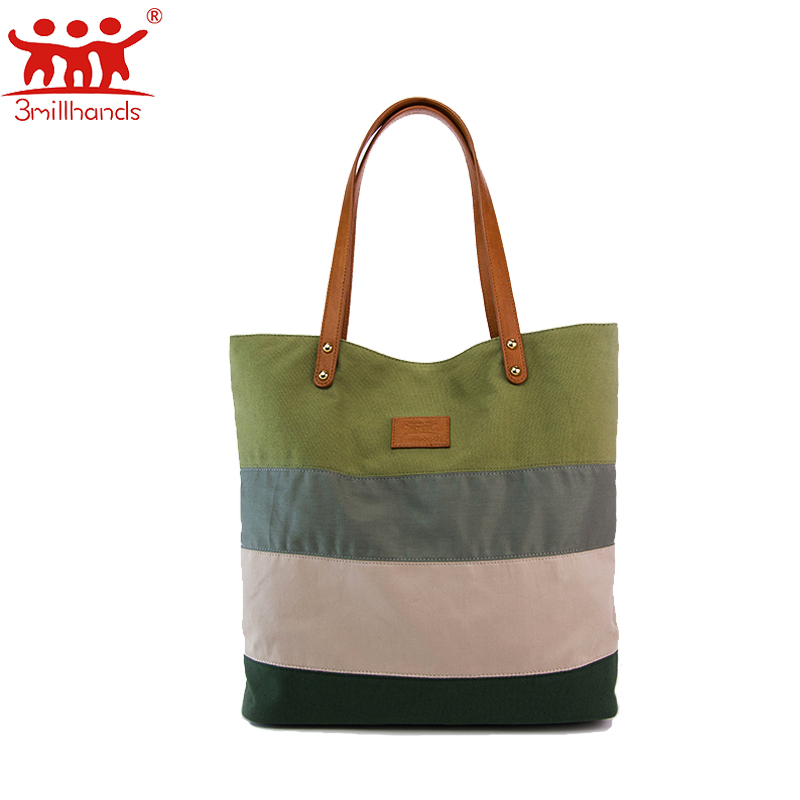 ФОТО Limited Edition 3Millhands canvas bag multi color striped handmade patchwork bags women bags designer panelled