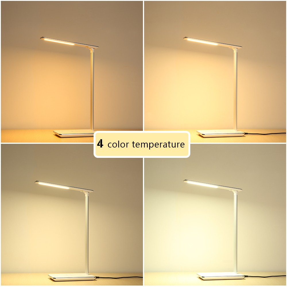ФОТО New LED Desk Lamp Table Lamp Folding Eye-friendly 4Light Color Temperature Book Light with Wireless Desktop Charger USB Charging