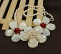 "New Natural Wired MOP Shell w/ Pearl Red Howlite Flower Pendant Beaded Women's Wedding Party Necklace 20"" + Gift Box"