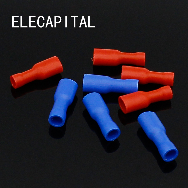 20pcs Fully Insulated 6.3mm Female Spade Connector 0.5-2.5mm Crimp Terminal New Arrival цена