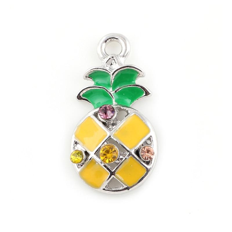 20PCS Enamel Pineapple Bracelet Charms Pendant Alloy Metal DIY Handmade Accessories 23*12mm