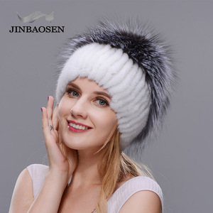 Image 5 - รัสเซียแฟชั่นMink Furหมวกผู้หญิงฤดูหนาวWarm Foxหมวกถักผู้หญิงใหม่ขนสัตว์ธรรมชาติและเจาะน้ำสกีหมวก
