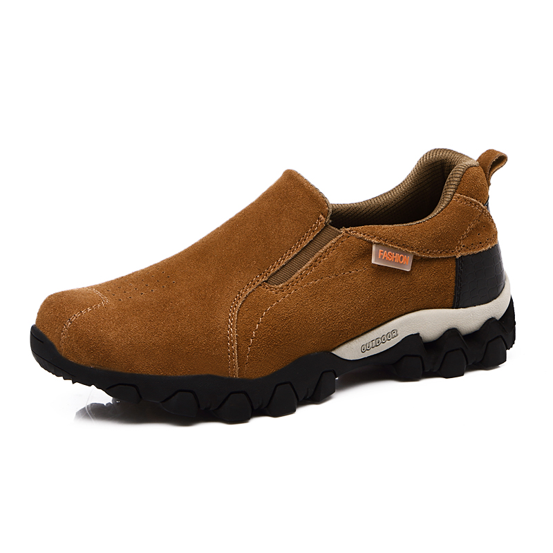 Ifrich New Arrival Mens Leather font b Hiking b font Shoes Slip on Cheap Male Climbing