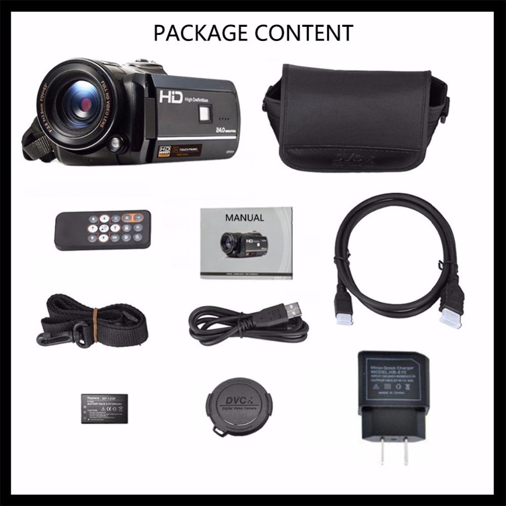 Marvie LED Fill Lights Portable 24.0 MP 3.0 Screen DV Camera FHD Camcorder Digital Video Recorder 16X Zoom IRNight Vision Cam 10
