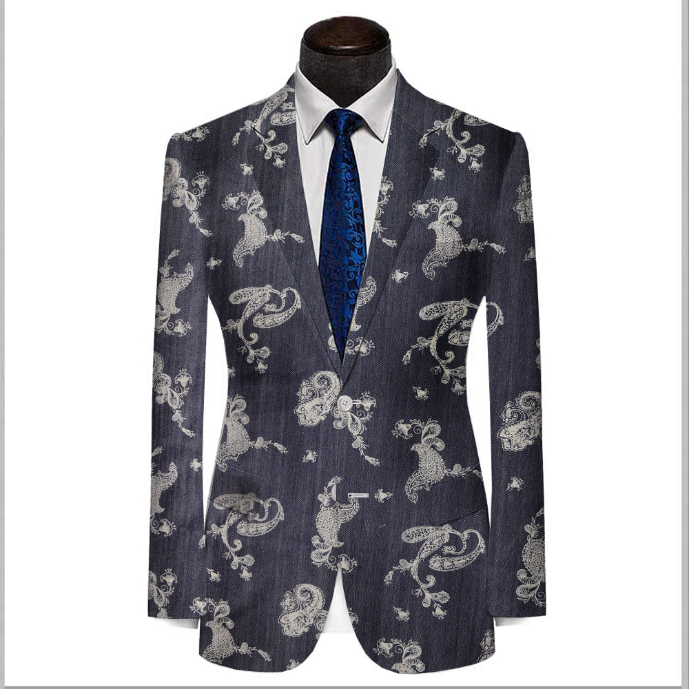 jeans blue cotton with printed white polka dot MANS fashion spring fall casual jacket, bespoke tailor made mtm coat 2018 VA