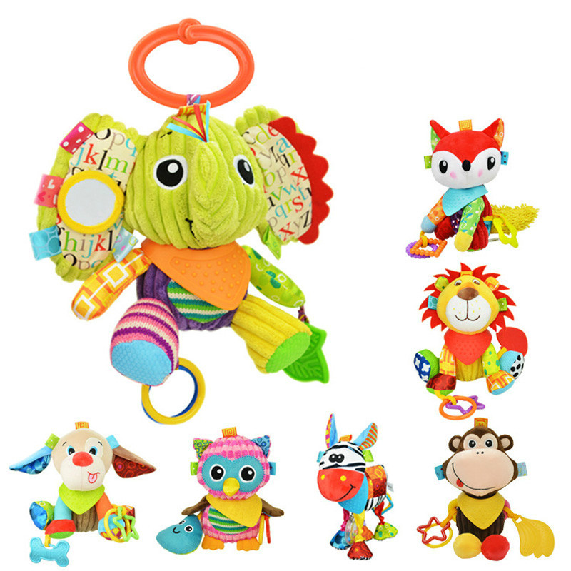 Baby Rattle Bell Baby Infant Crib Stroller Hanging Toy Cute Cartoon Animals Stuffed Plush Pacify Dolls