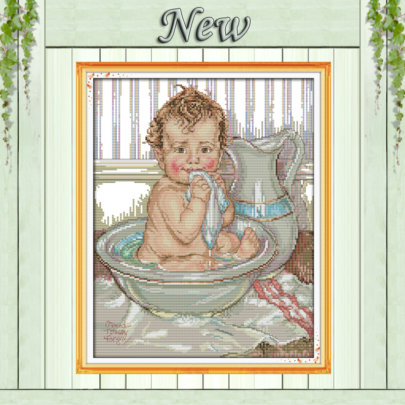A shower kid lovely baby a bath paintings counted print on the canvas DMC 11CT 14CT kits Cross Stitch embroidery needlework Sets