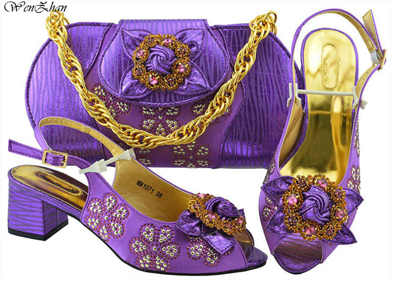 Latest Italian Ladies Shoe and Bag Set Decorated With Flower Purple Color Matching Buckle Strap Shoes and Bags Hottest B88-18Latest Italian Ladies Shoe and Bag Set Decorated With Flower Purple Color Matching Buckle Strap Shoes and Bags Hottest B88-18