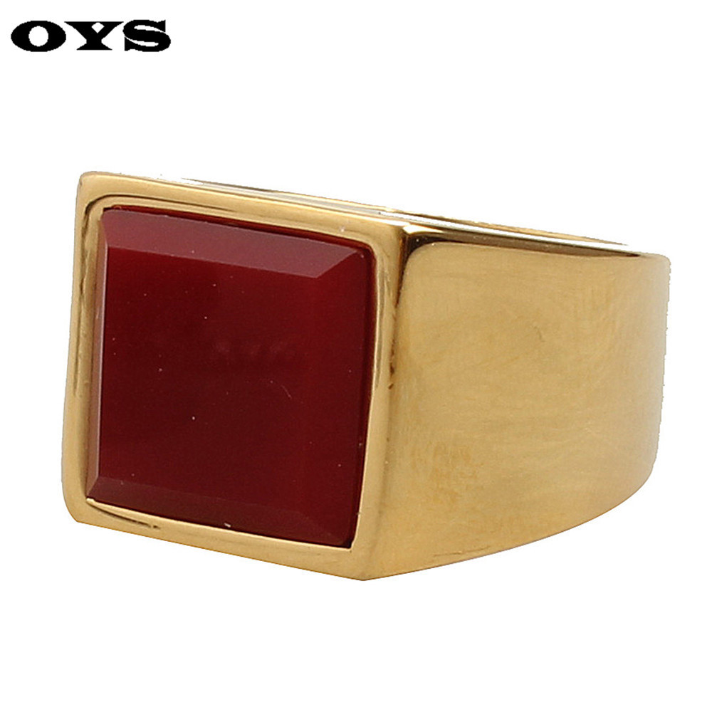 Square Ruby Men Ring Trendy Accessories 316L Stainless Steel Gold Plated Rings For Party Men's Band Ring Fashion Huge Ring