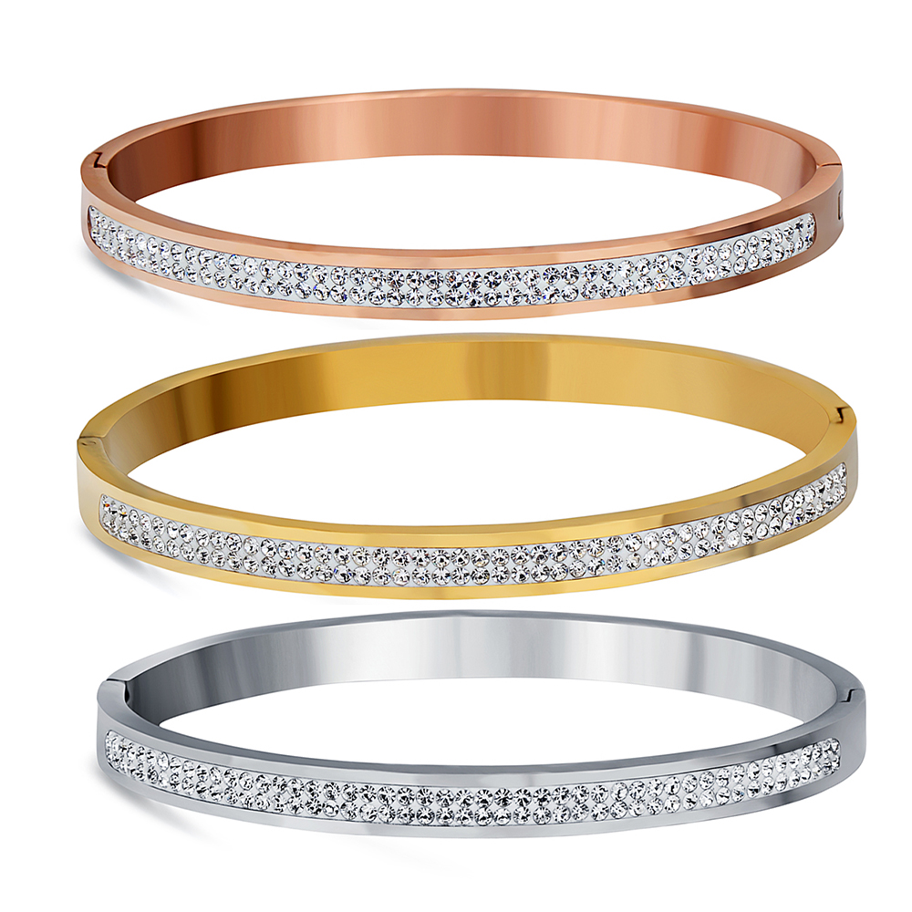 Two Row Crystal Rhinestone Pave Stainless Steel Bracelets & Bangles For Women Fashion Jewelry Bangle Accessories Drop Shipping