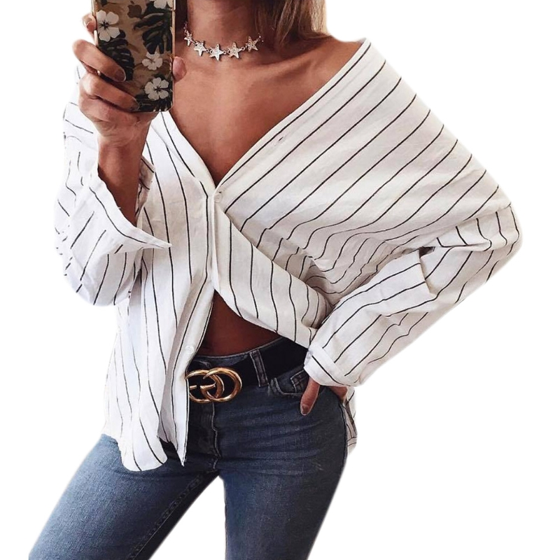 2017 New Women Ladies Clothing Tops Long Sleeve Striped Fashion Shirt Casual Blouse Tops Loose Clothes Women