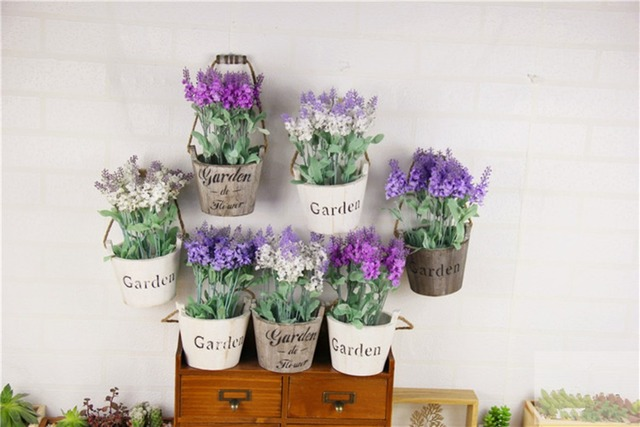wood flower pots planters with artificial flower vintage hanging